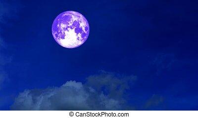full harvest moon moving pass back cloud on dark night sky