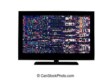 full hd monitor or television with digital glitches, ...