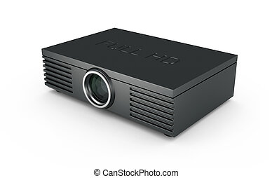 Full HD Projector - 3d render of Full HD projector on white...