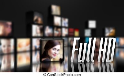 Full HD television concept, LCD panels