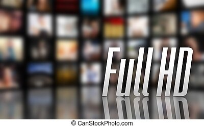 Full HD television concept LCD screen panels