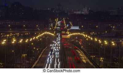 Full HD video of night city traffic. Highway