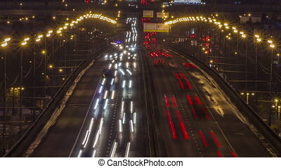 Full HD video of night city traffic. Highway