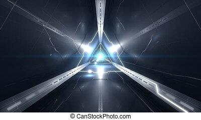 Full HD VJ Triangular 3D Tunnel Video