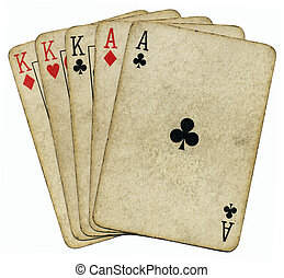 Full house aces and Kings vintage poker cards isolated over...