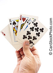 Full House in a hand isolated on a white background.