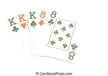 full house of cards on white