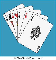 Full house aces jacks on blue background