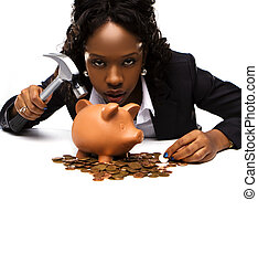 beautiful african american woman with a piggybank