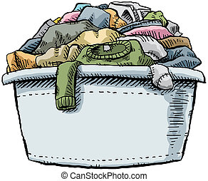 Full Laundry - A cartoon laundry tub, full and overflowing ...