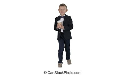 Boy walking with a take away coffee in a formal clothes on white background.