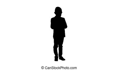 Full lenght shot. Silhouette Boy in a formal clothes writing in check list or notebook. Professional shot in 4K resolution. 016. You can use it e.g. in your commercial video, education, business, presentation, broadcast