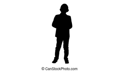 Full lenght shot. Silhouette Little boy in formal outfit talking and smiling. Professional shot in 4K resolution. 016. You can use it e.g. in your commercial video, education, business, presentation, broadcast