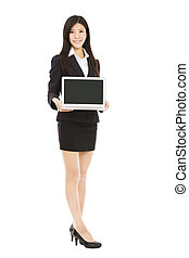 full length asian businesswoman holding laptop isolated on white background