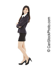 full length asian businesswoman isolated on white background