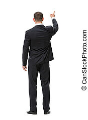 Full-length backview of business man attention gesturing