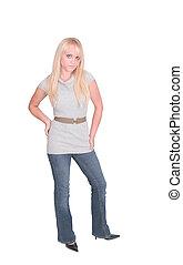full length blonde girl - full length portrait of one sexy...