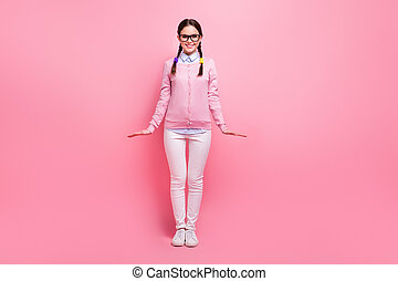 Full length body size view of her she attractive lovely pretty cute modest intellectual cheerful cheery brown-haired girl nerd posing isolated over pink pastel color background