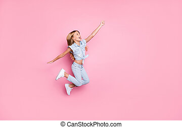 Full length body size view of her she nice attractive lovely pretty carefree ecstatic glad cheerful cheery preteen girl jumping having fun holiday isolated over pink pastel color background