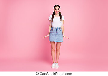Full length body size view of her she nice attractive lovely pretty cute content glad modest cheerful cheery girl posing isolated over pink pastel color background