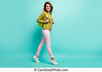 Full length body size view of her she nice attractive pretty cheerful cheery wavy-haired girl going back to school year season isolated bright vivid shine vibrant teal turquoise color background