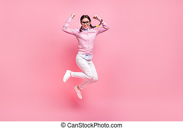 Full length body size view of her she nice attractive pretty lovely cheerful cheery glad teen girl nerd jumping rejoicing vacation holiday weekend isolated pink pastel color background