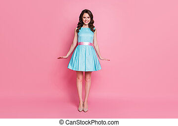 Full length body size view of her she nice-looking attractive lovely pretty charming cheerful cheery wavy-haired girl posing festal day isolated over pink pastel color background