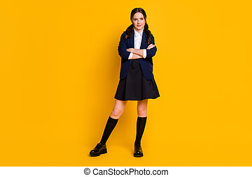 Full length body size view of her she nice-looking attractive pretty cheery content schoolgirl folded arms isolated over bright vivid shine vibrant yellow color background