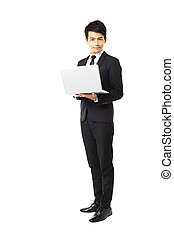 full length business man with laptop isolated on white