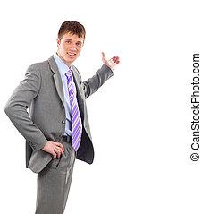Full length businessman offering handshake isolated on white