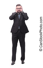 full length .concerned businessman . isolated on white