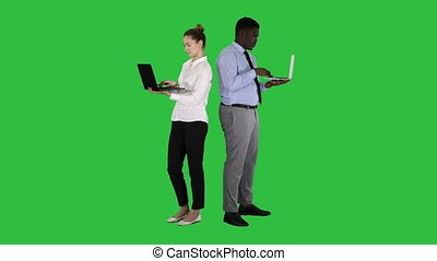 Couple back to back standing and working on laptops on a Green Screen, Chroma Key.