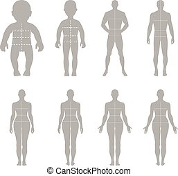 Full length front, back human silhouette vector illustration...