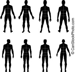 Full length front, back man silhouette vector illustration with marked body's sizes lines, isolated on white