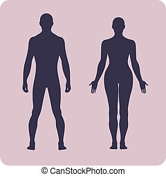 Full length front human silhouette vector illustration,...