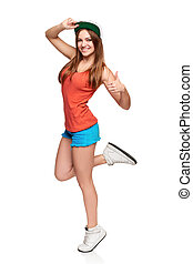 Full length girl showing thumb up sign