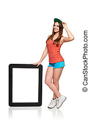 Full length girl showing with blank frame copy space