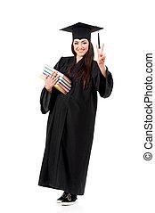 Full length graduation girl