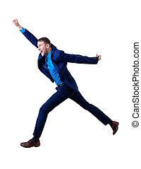 Full length happy businessman jumping forward in the air.