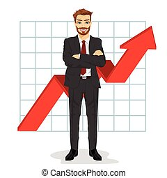 successful business man with arms folded. Financial success bar graph growing up