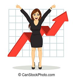 young business woman with arms raised. Financial success bar graph growing up
