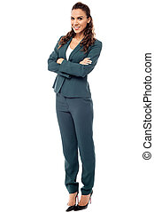 Full length image of confident business woman