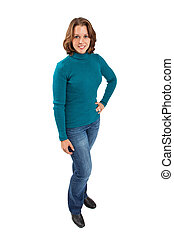 Full length image of young woman in turquoise sweater