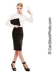 Full length mad businesswoman teacher shaking finger isolated