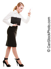 Full length mad businesswoman teacher shaking finger isolated