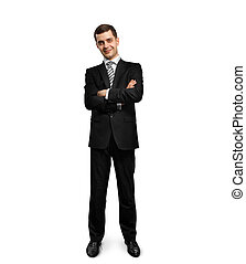 full length male in suit with folded hands