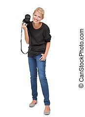 Full length of a beautiful female photographer