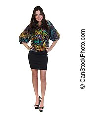 Full length of a beautiful girl in black skirt and colorful...