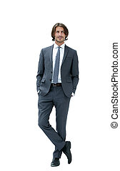 full length of a business man holding a hand in his pocket