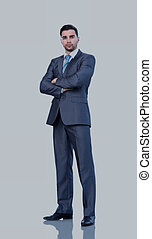 Full length of a business man with crossed arms